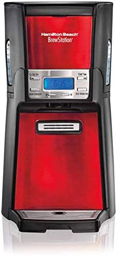Hamilton Beach BrewStation 12-Cup Dispensing Coffeemaker, 48466-MX, Candy Apple Red /…