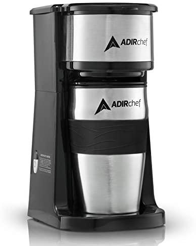 AdirChef Grab N' Go Personal Coffee Maker with 15 oz. Travel Mug – Single Serve Coffe…