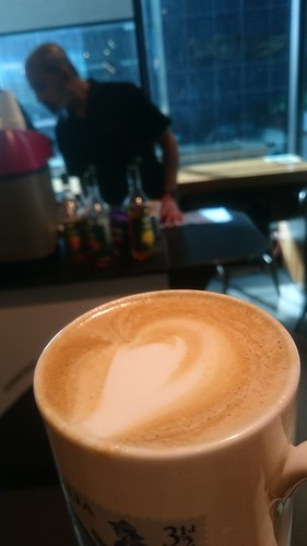 Caffe latte from the coffee cart at work
